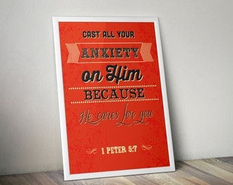 1 Peter 5:7 Bible Verse Lyrics Retro Vintage Typography Poster 16x20 Cast all your anxiety on Him because He cares for you