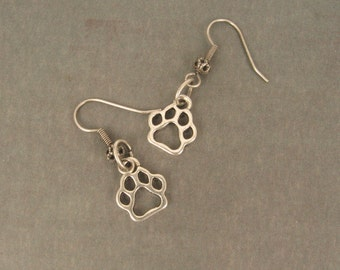 Animal Rescue   Antique Silver Paw Print  Charm Earrings   So Cute