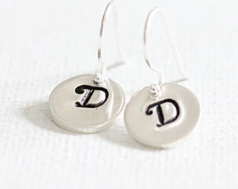 Teeny Tiny Initial Earrings - Personalized Jewelry - Hand Stamped Sterling Silver Monogram Dangle Earrings - custom initial jewelry