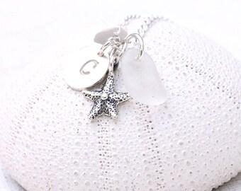 Dainty Sea Glass Jewelry Personalized Initial Necklace Beach Glass Necklace Seaglass Jewelry Charm Necklace Starfish Bridesmaids Jewelry