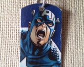 Captain America Upycled Comic Book Dog Tag, Includes Necklace