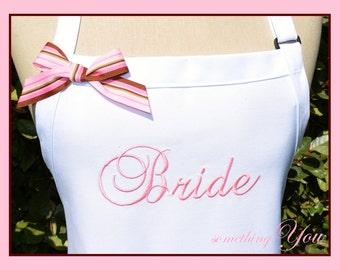 Personalized Brides Name Apron - Monogrammed Custom Bridal Dress Gift Idea Purple Hot Pink Black Aqua White Grey Gray wedding gown