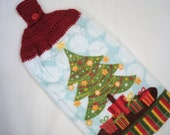 Dish Towel Christmas Tree and Presents With Crocheted Topper For Hanging