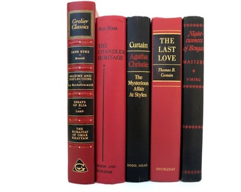 Striking Set  Red and Black Vintage Books/Book Decor/Old Book Decor Instant Library/Library Filler/ Home Decor/Books to Decorate/Photo Prop