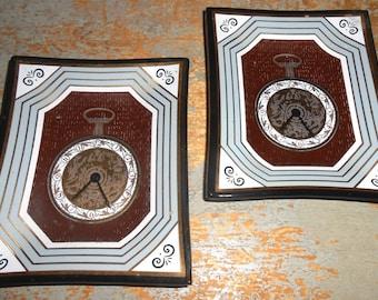 Vintage Trinket Dish, Pocket Watch, Glass, Mad Men, Jewelry Holder, Set of Two
