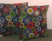 Red, Blue, Purple, Green and Yellow Circles against Black Background- Hand Designed 20x20 Pillow Covers- Set-2-Cottage Chic