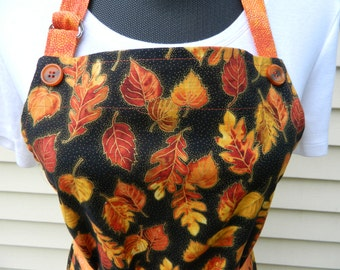 Ladies Autumn Leaves Apron with Ruffle Fall Harvest Womens Gift Fall Lovers Autumn Lovers Women's Gift