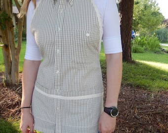 Olive and Cream Seersucker Apron - Upcycled from man's shirt