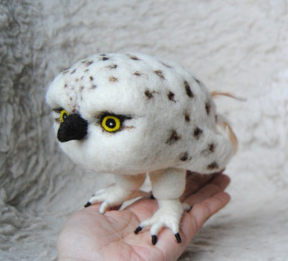 Baby Snowy Owl Drawing Needle Felted Baby Snowy Owl