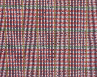 Vintage Polyester Plaid Knit Jersey Fabric Red Blue White Green Stretchy Mod Retro Material Fabric 2 1/4 yards