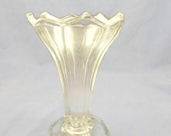 Vintage Petal Vase Clear Glass Octagon Base