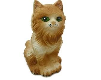 Vintage Handmade Ceramic Orange Cat Bank