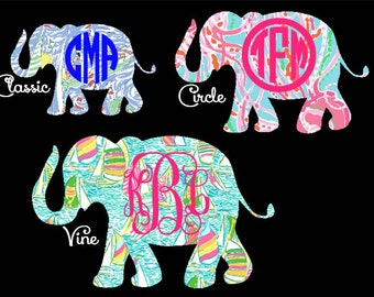 """2.5"""", 3"""", 4"""", 5""""  -  Lilly Pulitzer Elephant Decal with Optional Monogram - Various sizes and colors to choose from !  Quickly shipped !"""