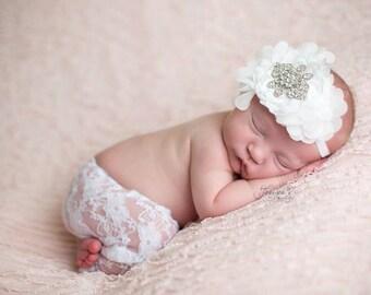 Newborn headband with Swarovski Rhinestones, Baby girl, flower girls, christening, soft stretch elastic band, Perfect for photography