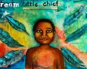 Mardi Gras Indian Original Painting -- Dream Little Chief