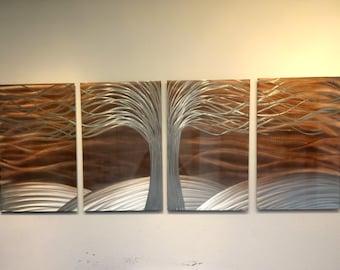 Metal Wall Art Aluminum Decor Abstract Contemporary Modern Sculpture Hanging Zen Textured -Tree of Life Burnt Copper