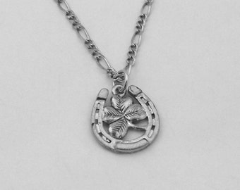 Horseshoe and 4 Leaf Clover Charm on Figaro Chain Necklace - Free Shipping to US - (5471)