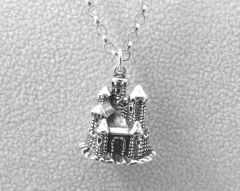 Sterling Silver Castle Pendant on a Sterling Silver 3mm Rolo Necklace - 1509