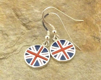 Sterling Silver Flag Colors of United Kingdom Dangle Earrings on Sterling Silver French Hooks-1732