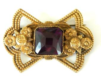 Purple Rose Brooch Amethyst Glass Art Nouveau Art Deco Vintage Pin Antique Collectible Jewelry Royal Purple Flower Summer