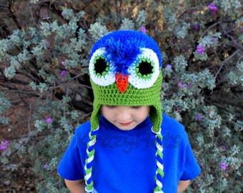 Owl hat.Crochet Seattle Seahawks hat.Crochet owl hat