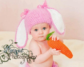 Crochet Fuzzy bunny hat.Made to order.