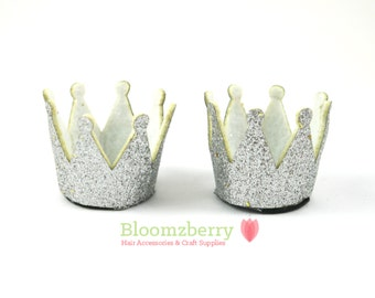 """2"""" Mini Glitter Crown - Silver Color - Silver Glitter Crown - Silver Crown -Birthday/Craft/Baby Girl - Hair Accessories and Craft Supplies"""