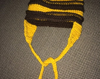 Teen / Adult - ear flap hat with ribbing - Hand Crocheted - Brown and gold with ites