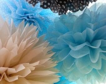 ON SALE..Tissue Paper Poms Set of 8 //Boy Baby Shower// Decorations// Boy Birthdays Decor// Baptism// Ceremony