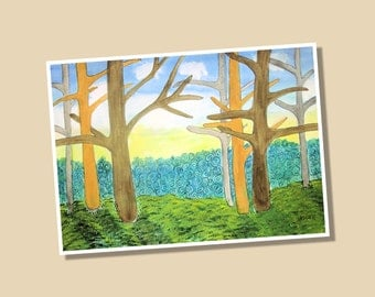 Watercolor Forest Limited Edition Giclee Print 8x10 Signed and Numbered