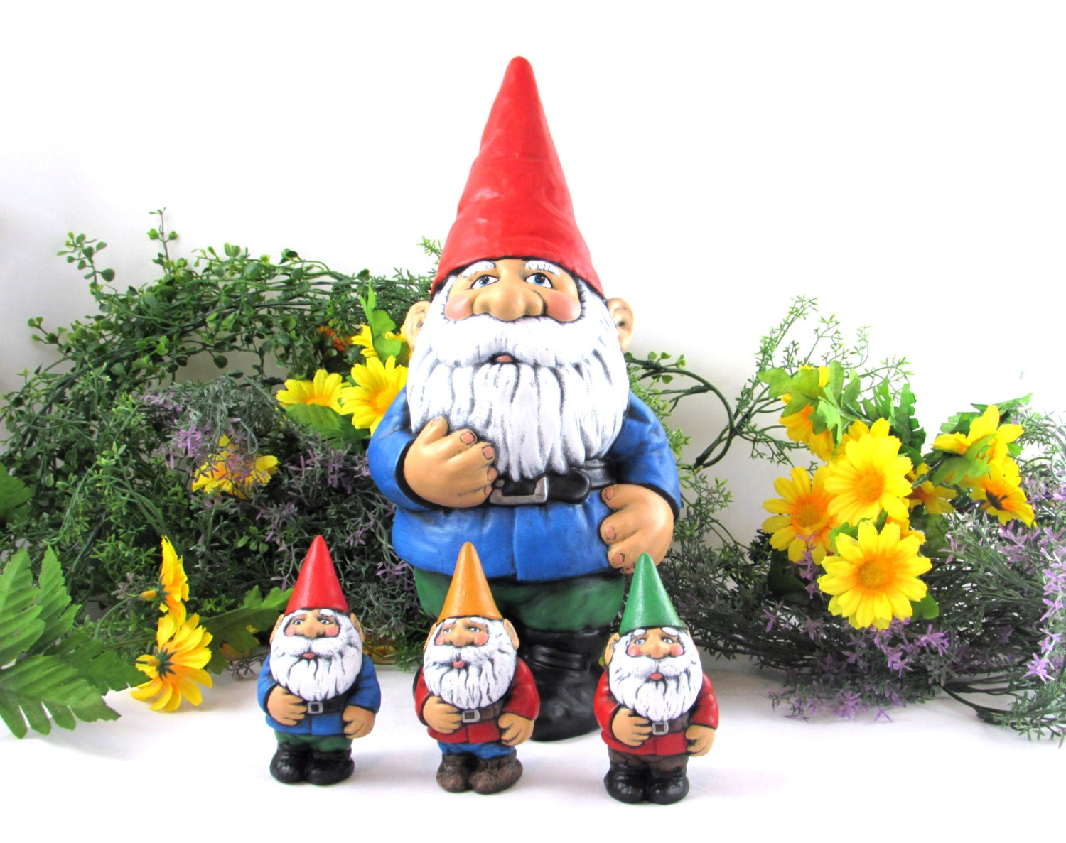 Gnome In Garden: Garden Gnome Set Ceramic Hand Painted One Large Gnome And