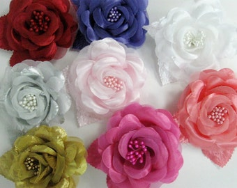 Flower Clip, Red, Purple, Silver, Light Pink, White, Gold, Hot Pink, Orange, you pick color