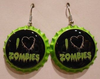 I Love Zombies bottle cap earrings