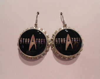 Star Trek bottle cap earrings