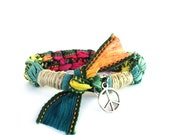 Peace Silk Ribbon Bracelet Heart Bohemian Colorful Hippie Be You Yoga Jewelry Earthy Ooak Hemp Yogi Gift For Her Christmas Under 50 C47