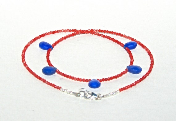 Chalcedony Necklace, Blue Chalcedony, Red Jade, Natural Stone, Sterling Silver, Delicate Necklace, Minimalist Necklace   314