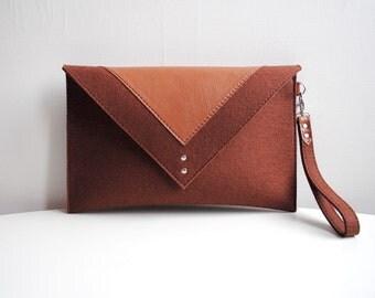 Sienna Brown Felt Leather Clutch Bag