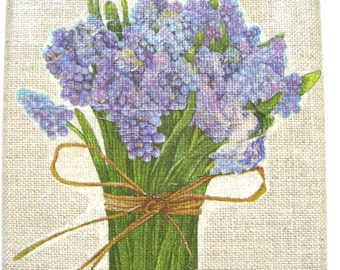 The Attractive Blue Bouquet picture(board) collage(sticking) on linen painting(cloth) 4.72 X 4.72 inches.