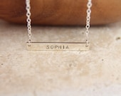 Silver Bar Necklace, 32x5mm, Name Bar Necklace, Nameplate Necklace, Silver Initial Necklace, Personalized Silver Bar Necklace, Bar Necklace