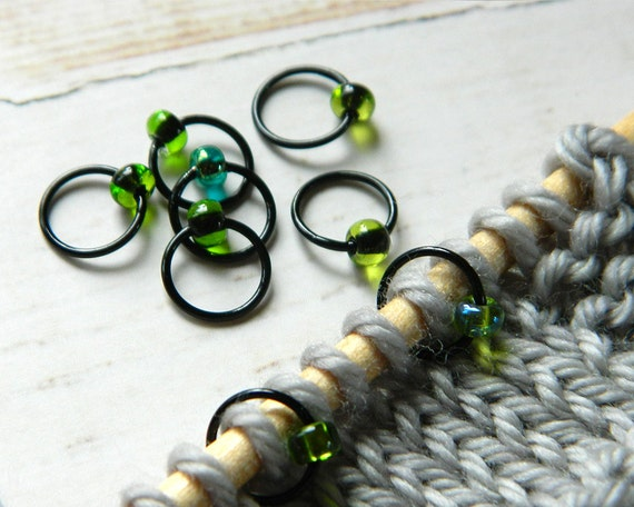 The Secret Garden / Stitch Markers - Dangle Free Snag Free Knitting Stitch Markers - Small Medium Large Sizes Available