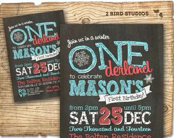 Winter ONEderland invitation - Winter ONEderland birthday invitations - chalkboard winter onederland party DIY printable invitation