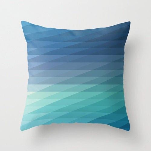 18x18 Blue Geometric Striped Throw Pillow COVER
