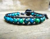 Mens Unisex Beaded Leather Single Wrap Bracelet with Blue Green Jasper Beads on Black Leather Stackable Bracelet