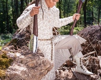 """DISCOUNTED PRICE! Мedieval Fantasy Gambeson """"Elven""""; Men's Coat; Gambeson for Cosplay"""