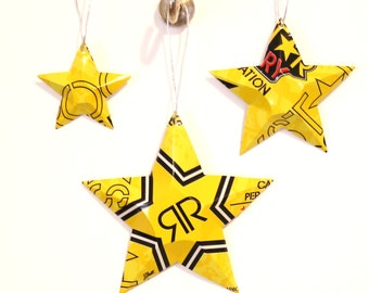 Set of 3 Yellow Rockstar Aluminum STARS - Recycled Soda Can Ornaments