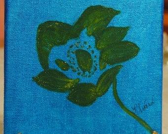 "Green flower on blue 5X5"" canvas."