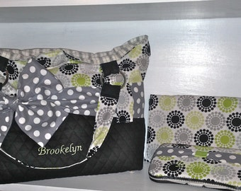 Personalized Diaper Bag Set in Black, White, Green & Grey With an Interchangeable Sash.  Name Embroidered on the Bottom