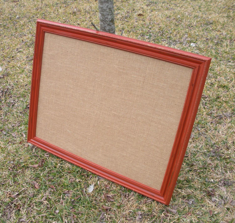 Large Cork Board Burlap Covered Bulletin Board Vintage Framed