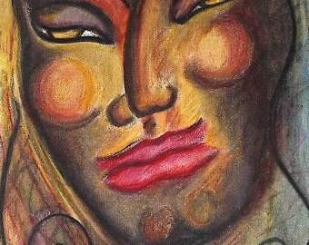 Glory, original oil pastel painting