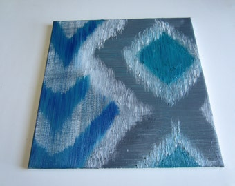 """original chevron oil painting turquoise gray blue and white 12""""x12"""" modern abstract"""